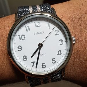 Timex Womens Glittery Nylon Strap Watch TW2R92200